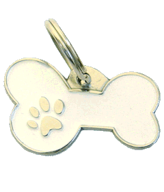 BONE MJAVHOV WHITE - pet ID tag, dog ID tags, pet tags, personalized pet tags MjavHov - engraved pet tags online